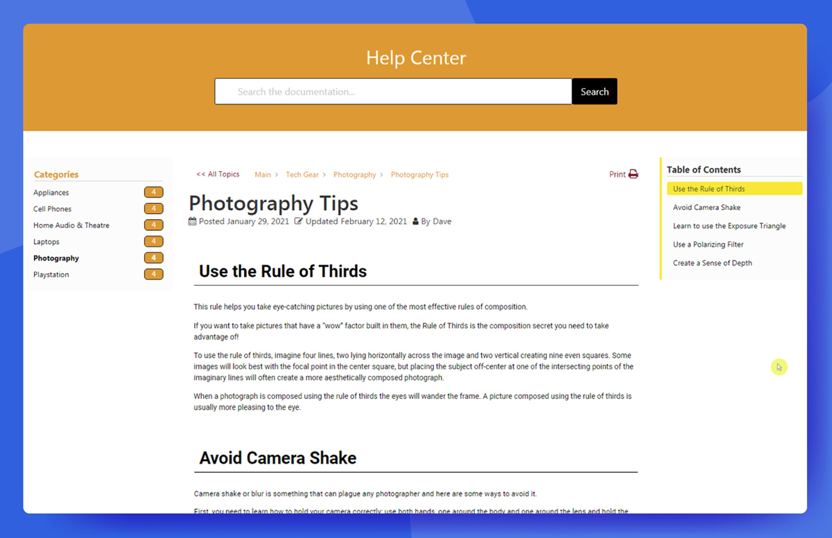 <p>Article page with breadcrumb, back button, print button, Table of Content, widgets, and more</p>