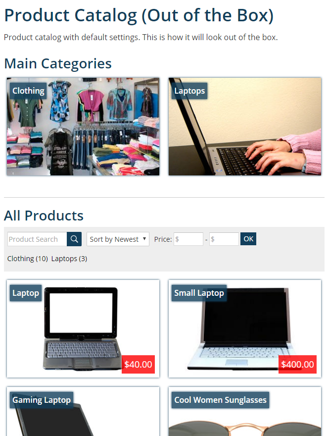 Default product catalog archive.