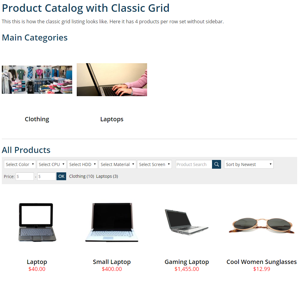 Classic grid product catalog archive.