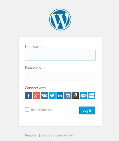 Social Login with square images.