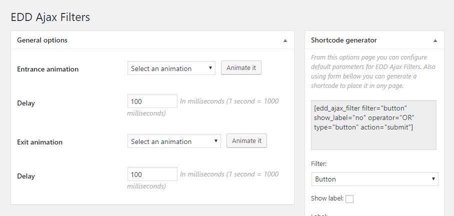 Admin - Tsunoa -> EDD Ajax Filters