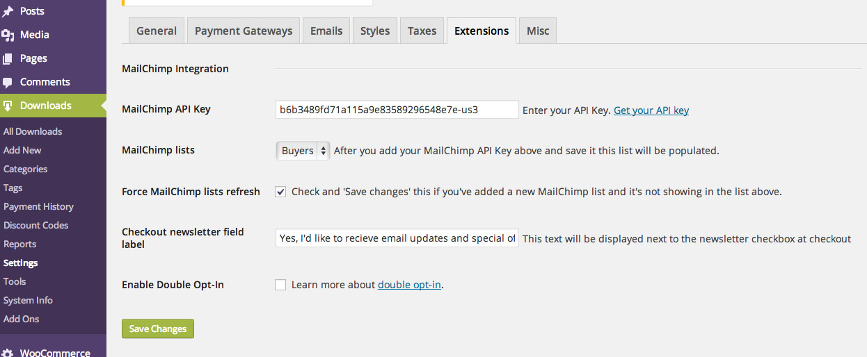 edd-mailchimp-subscribe screenshot 2