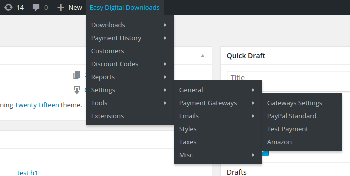 Quick access to all the EDD pages from the admin toolbar.