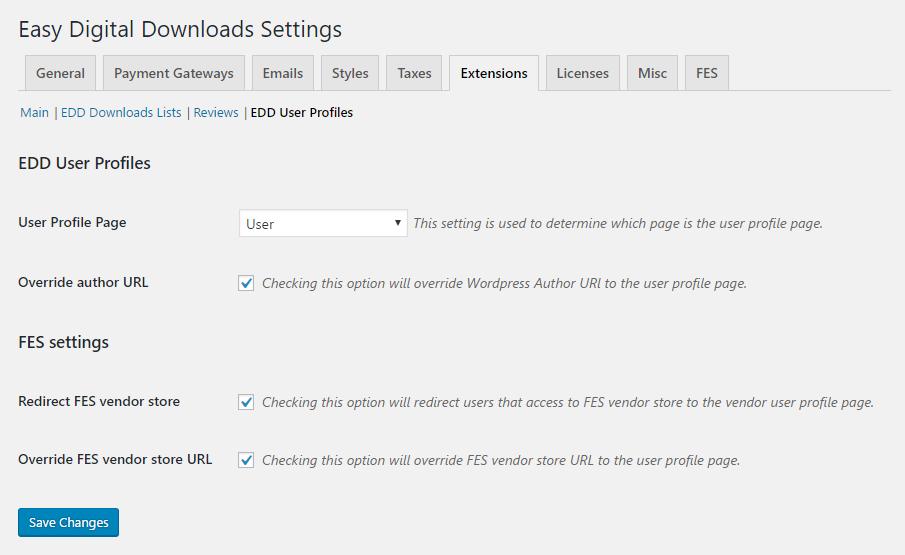 <p>Screenshot from EDD settings page</p>