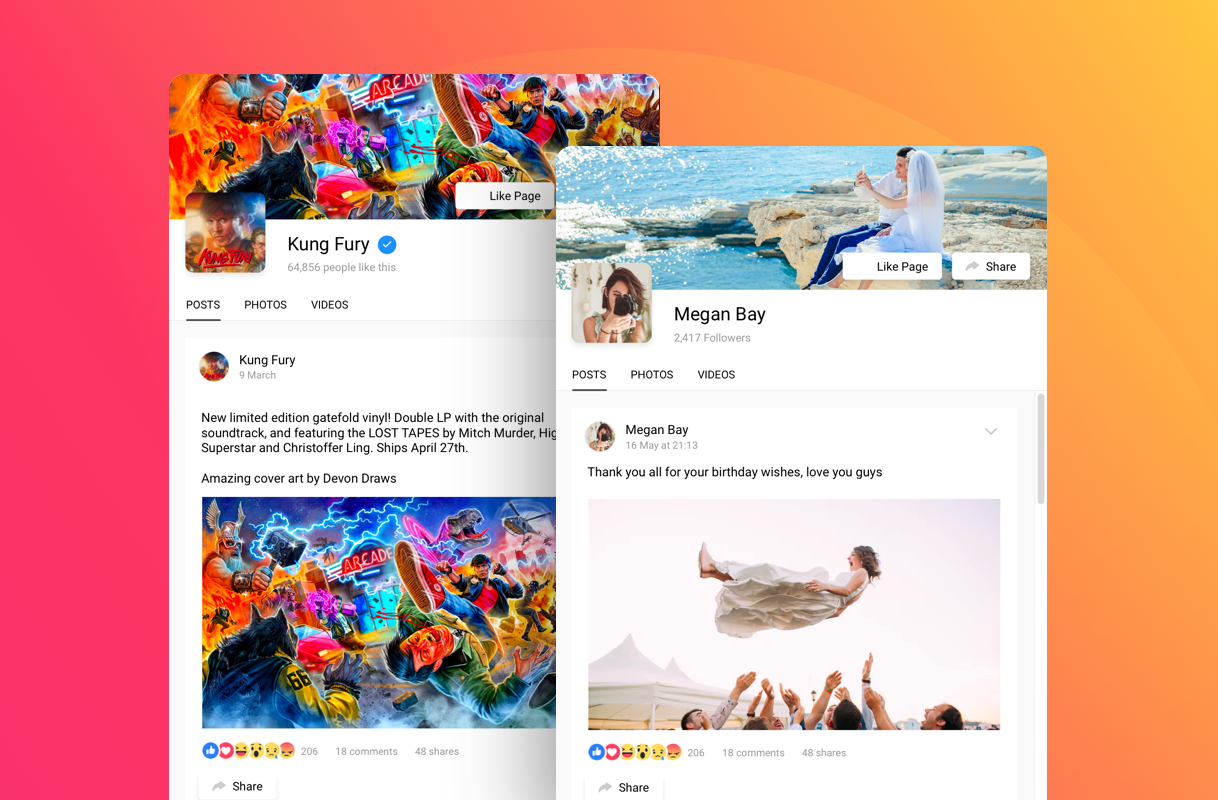 Display Facebook content (posts, photos, videos, events) and let your visitors share it without leaving your website. Configure the feed's header to provide an extra call-to-action.