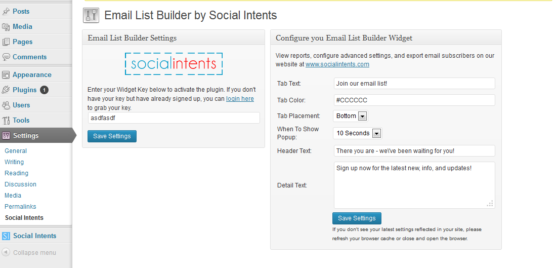 Example Email List Builder Popup