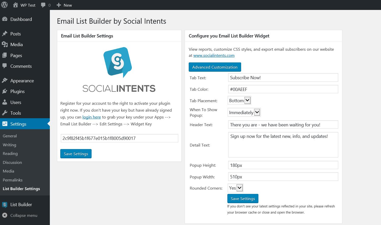 Email List Builder Settings