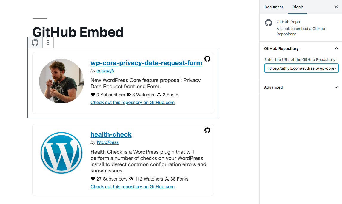 Embed your GitHub Repositories in your Post content.