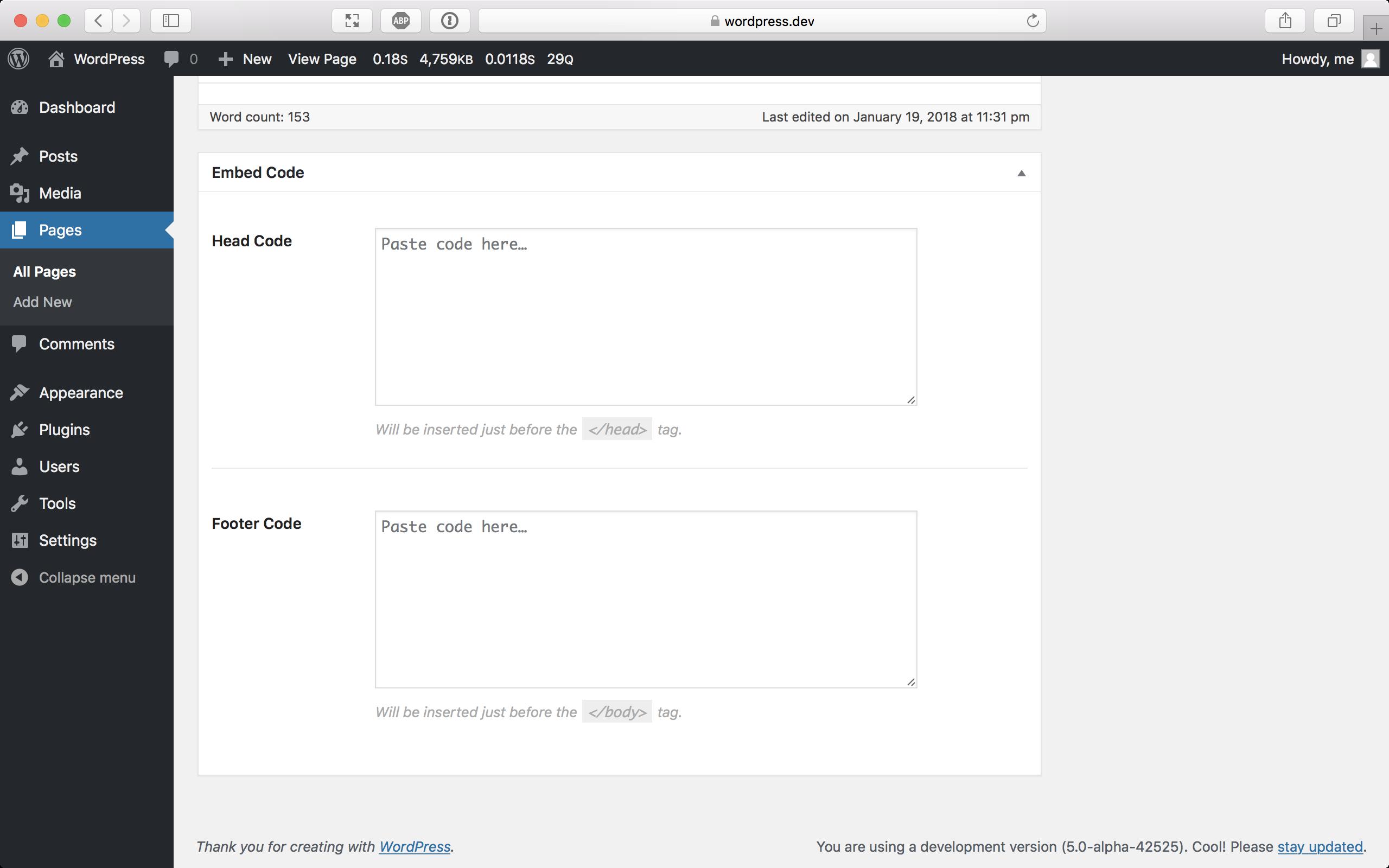 Schermafbeelding van de Embed Code plugin voor WordPress