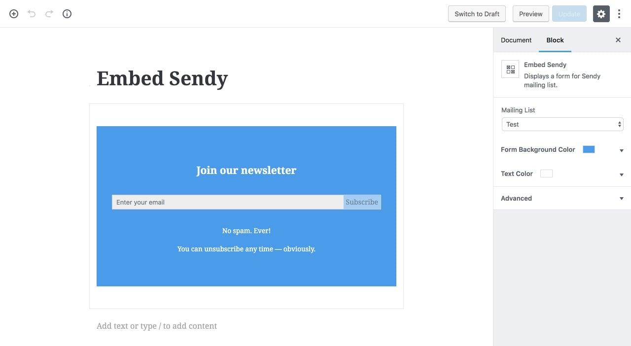 Embed Sendy Gutenberg block.