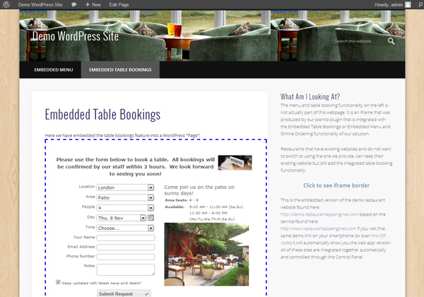 Embedded table bookings example showing the iframe