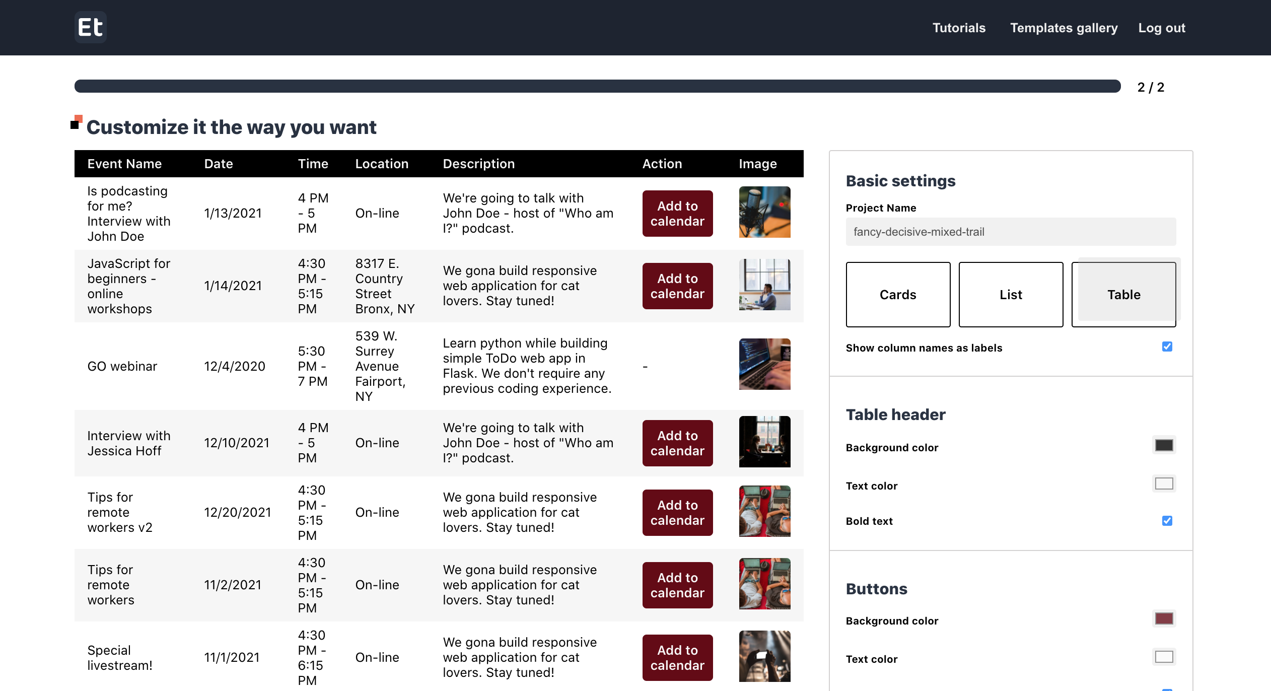 Customization using the web interface - table view