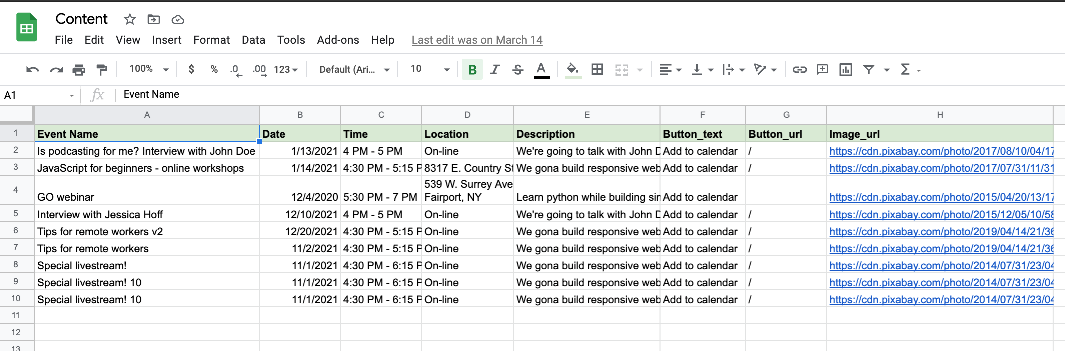 Example Google Sheet