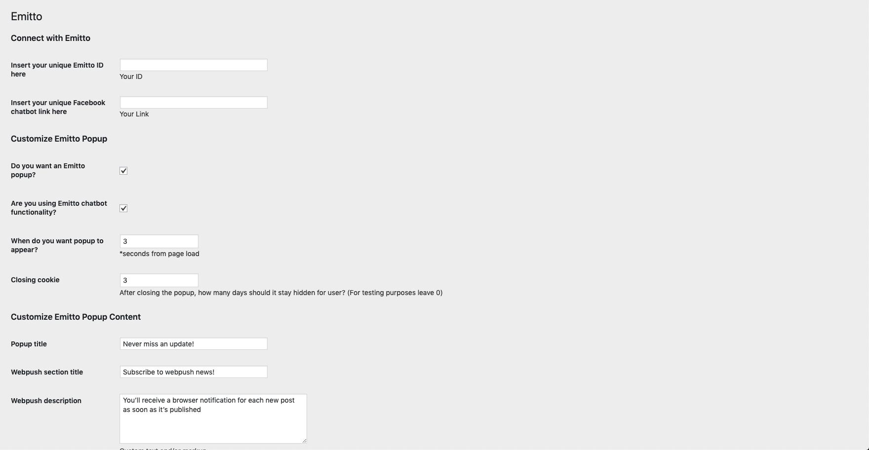 Emitto plugin popup customization