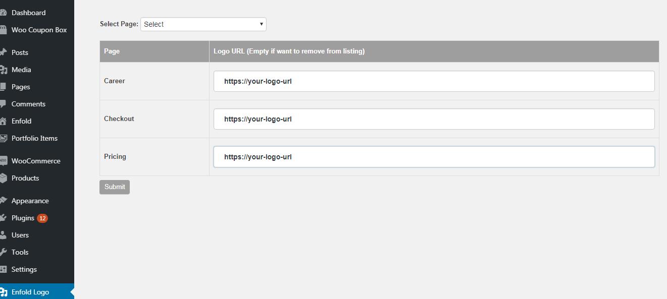 Select page & enter logo url.
