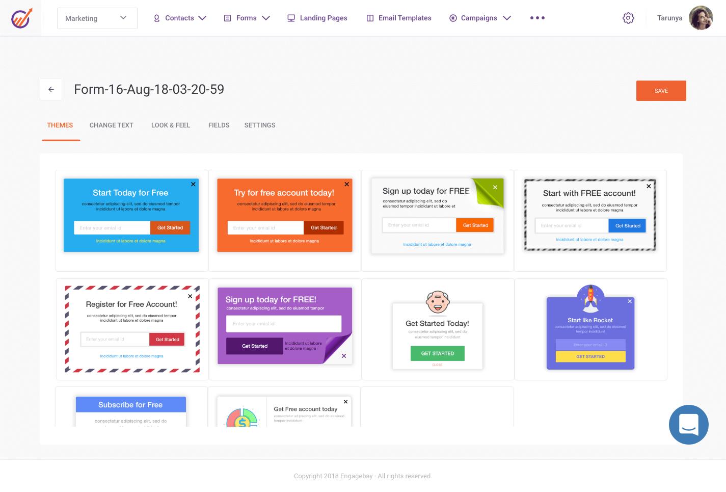 EngageBay form templates