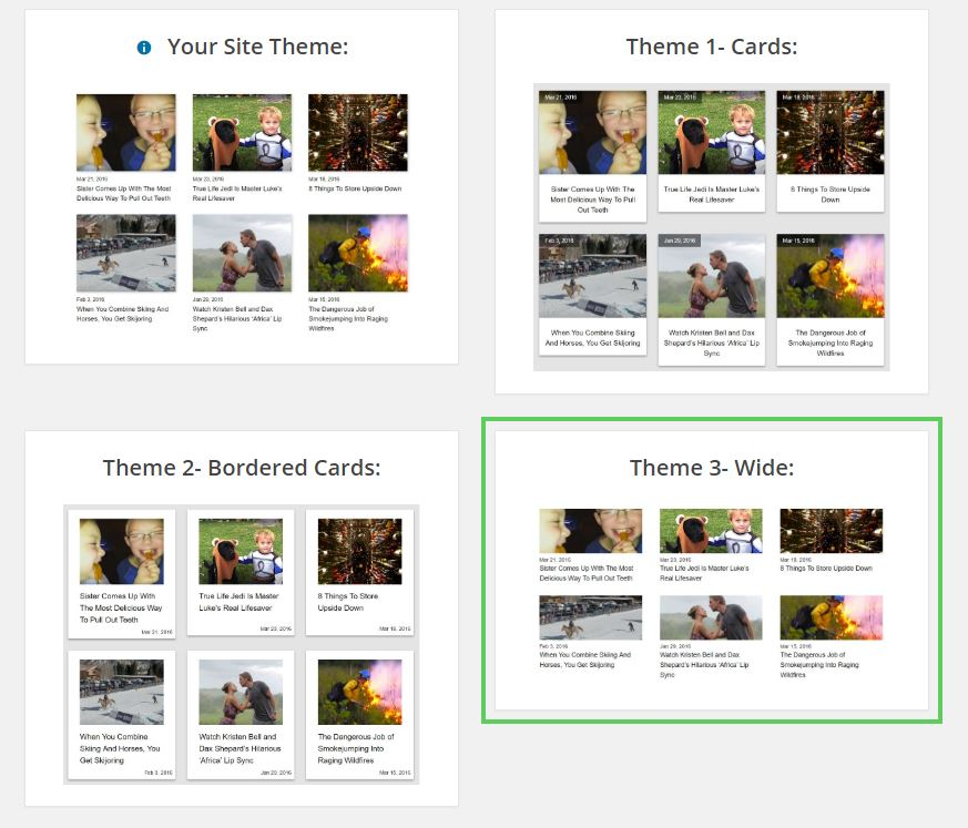 Select which theme you want the related posts to have. We will continue to add new themes in the future.