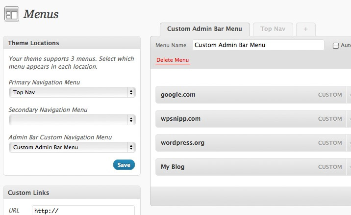 View of WordPress built-in menu system with a custom menu added to the Admin Bar.
