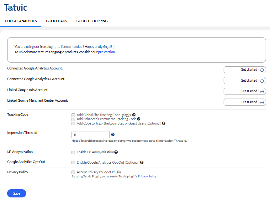 Product sync dashboard when no products are synced to your Google Merchant center account.