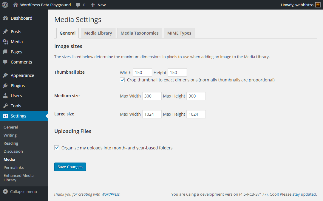 <p>Plugin Settings: WordPress General Media Settings</p>