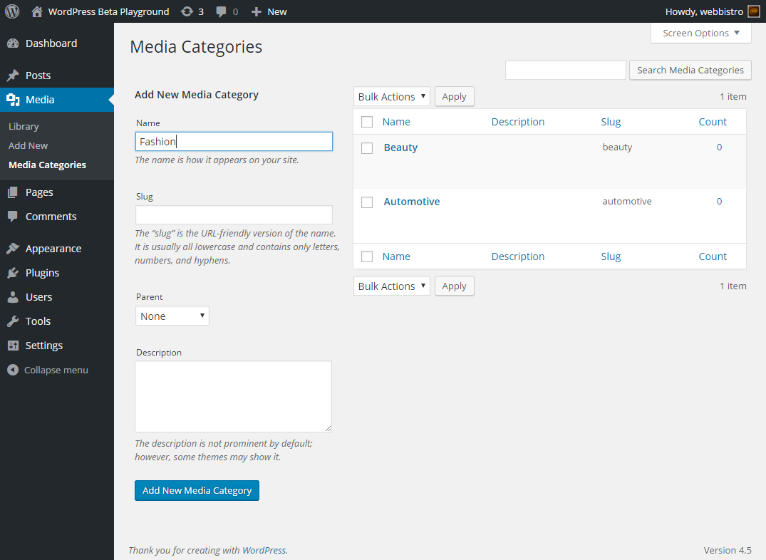 <p>Media Taxonomies are just usual WordPress taxonomies</p>