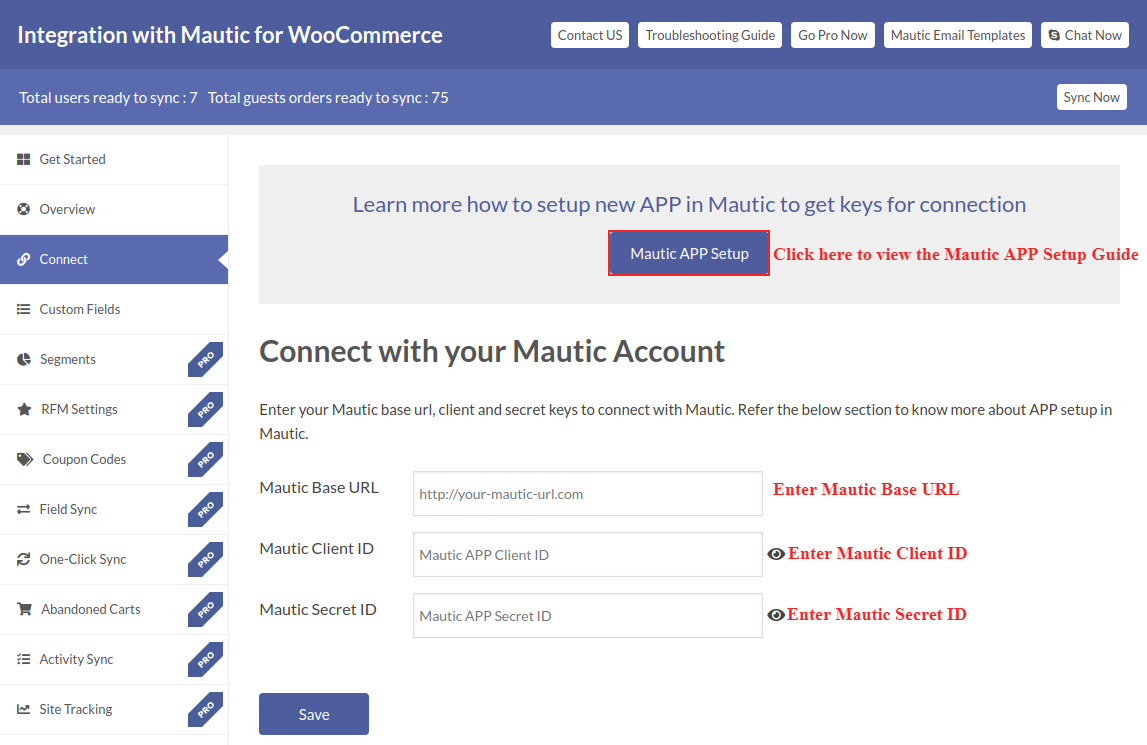 Mautic APP setup guide and Mautic Connection form.