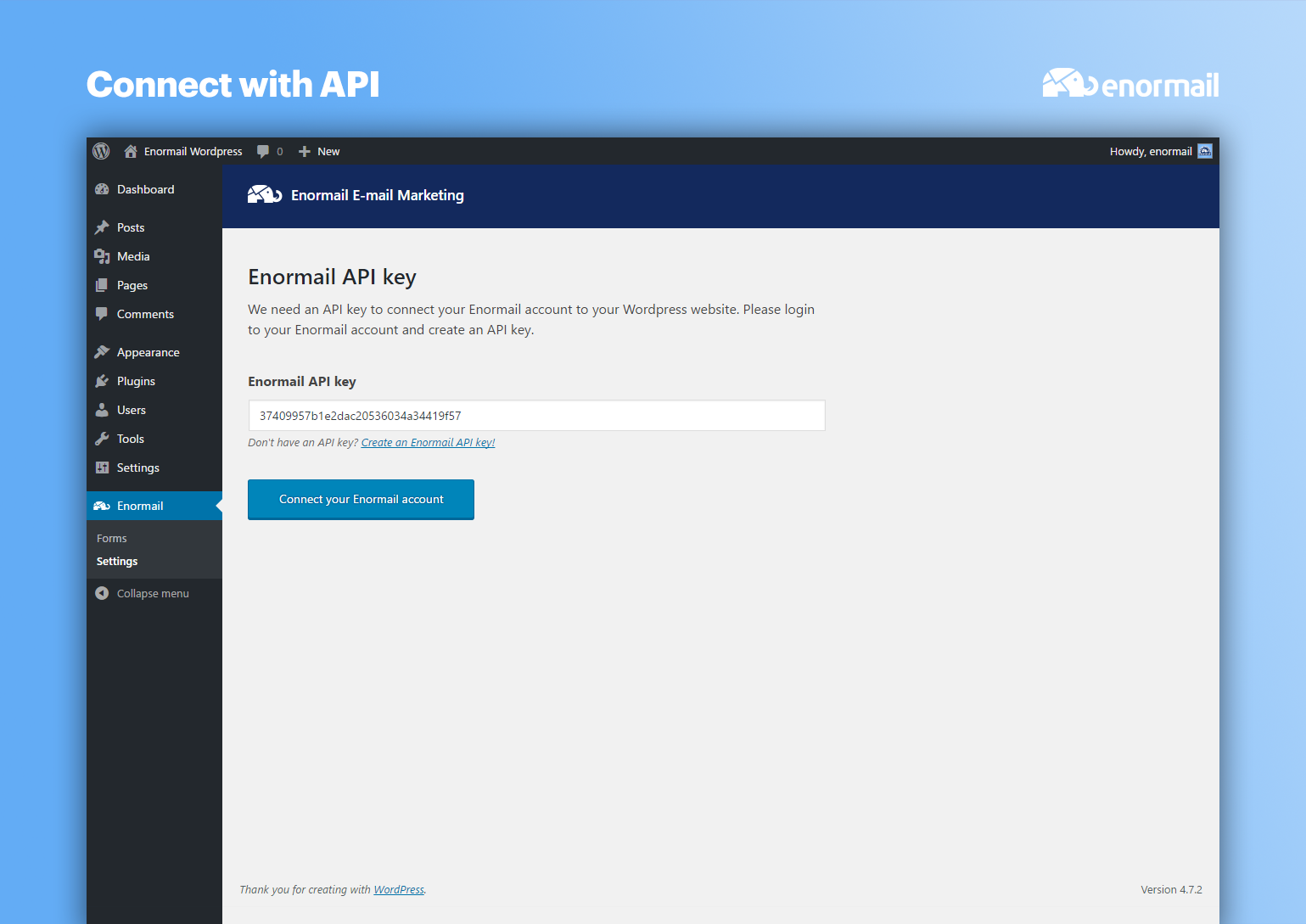 Connect your Enormail account through the Enormail API