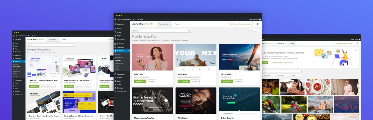 Envato Elements – Photos & Elementor Templates – WordPress plugin