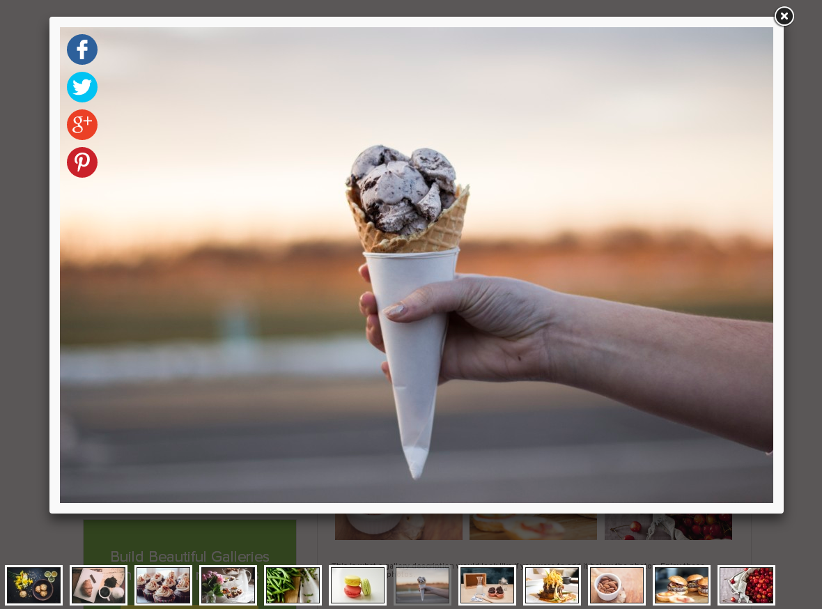 Media modal for inserting a gallery into your WYSIWYG editor.