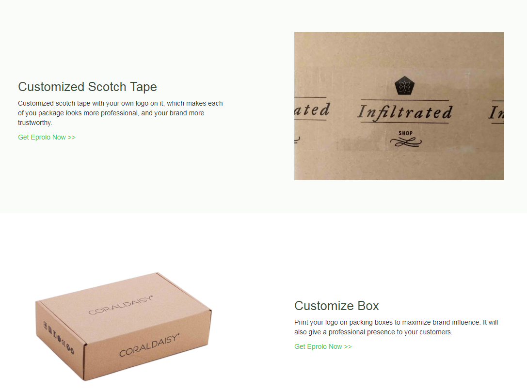 We help you to build your brand through customization, add logo, sticker, gift card,etc to your package.