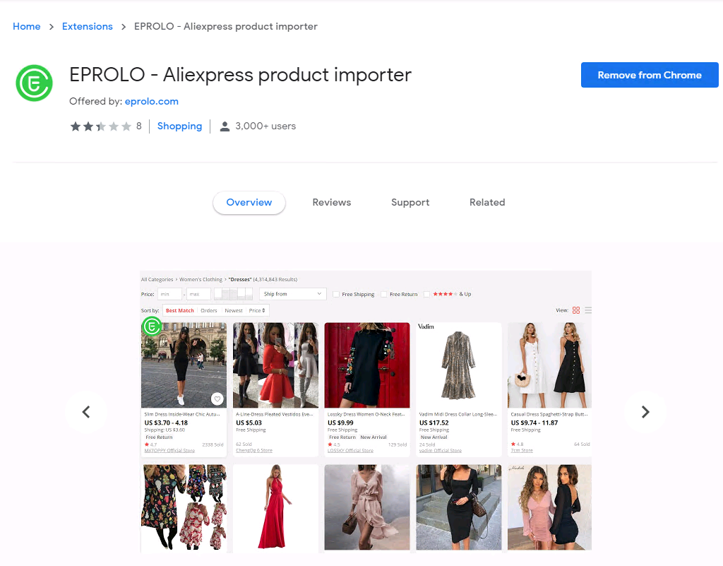 """Free Chrome Extension:""""EPROLO - Aliexpress product importer"""""""