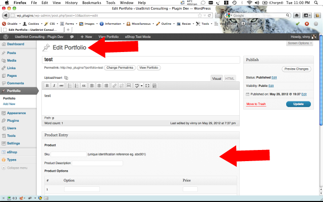Edit or create a Custom Type article and see that the eShop Product Entry pane is now showing.