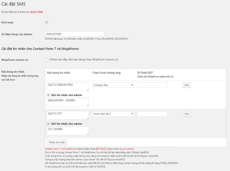 Cài đặt chung của eSMS và cài đặt cho Contact Form 7 và NinjaForm