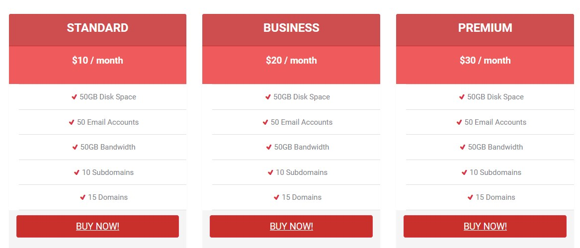 Pricing Table For KingComposer