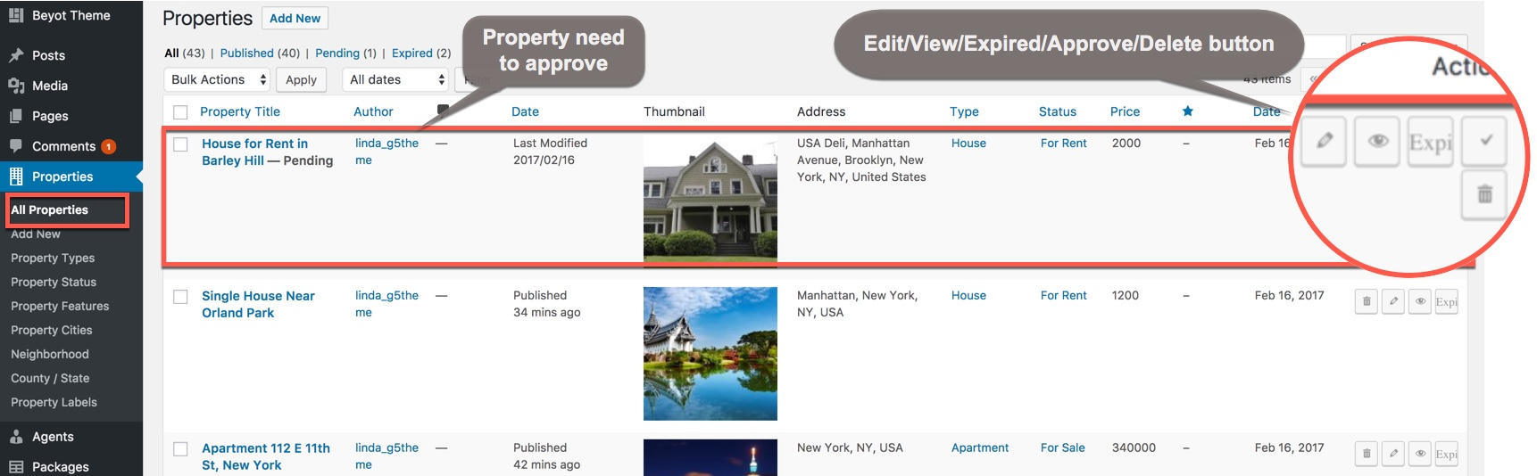 Approve Property: screen shot show how to approved a Property(when setting need Approved mode) on backend
