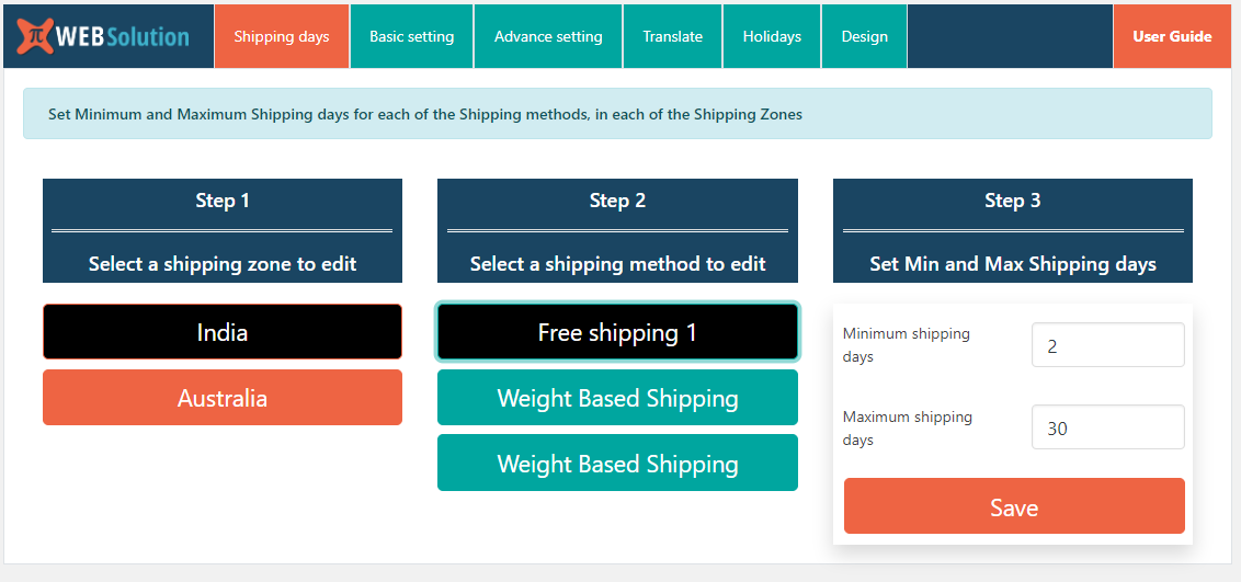 Adding minimum and maximum estimated time for each shipping class in each shipping zones