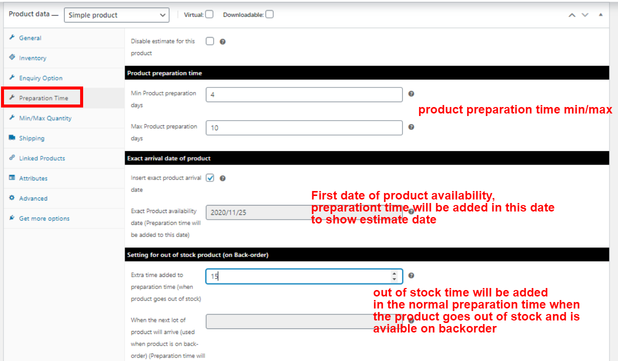 Estimate on the cart page