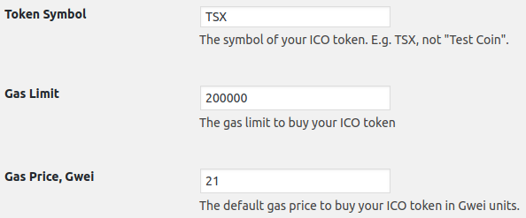 The token symbol and GAS settings