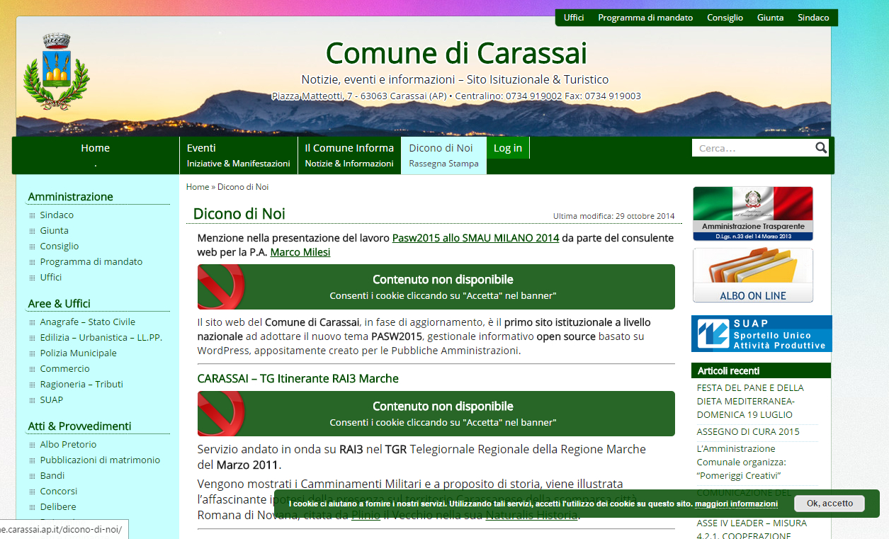 """Autoblock feature (no consent) - <a href=""""http://www.comune.carassai.ap.it"""">www.comune.carassai.ap.it</a>"""