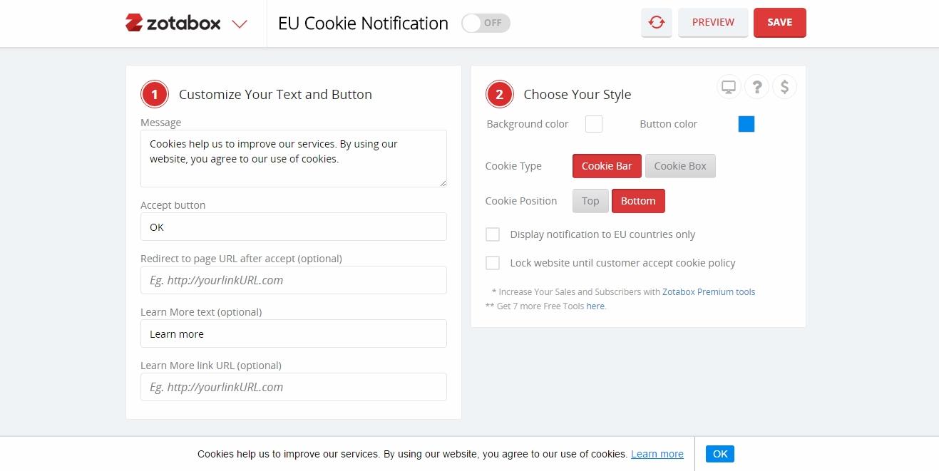 EU Cookie Law Notice/Banner