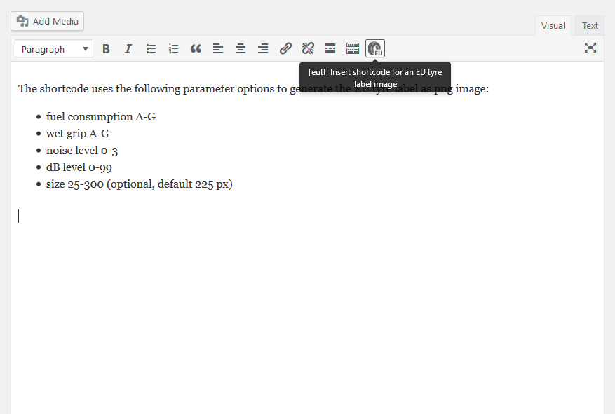 You can enter the shortcode manually, or very comfortabel via a button in the tinyMCE editor.(screenshot-01.png).