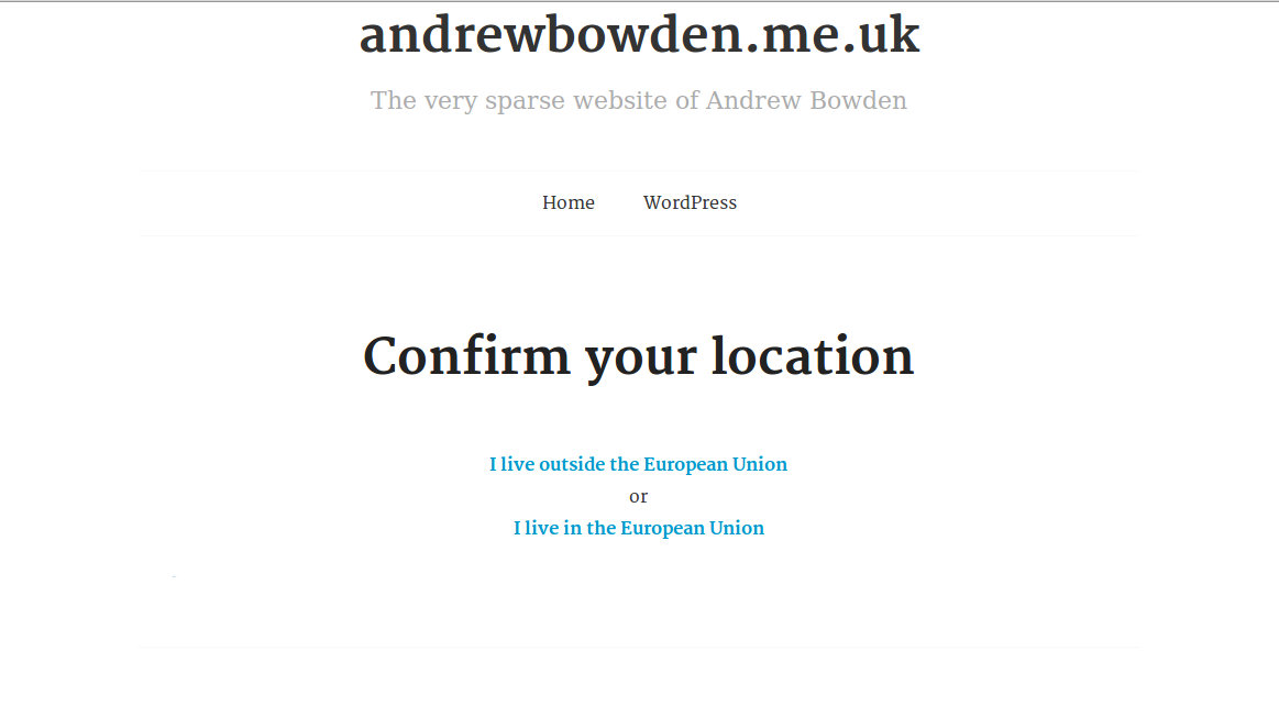 "Example of the default ""Confirm Location"" page"