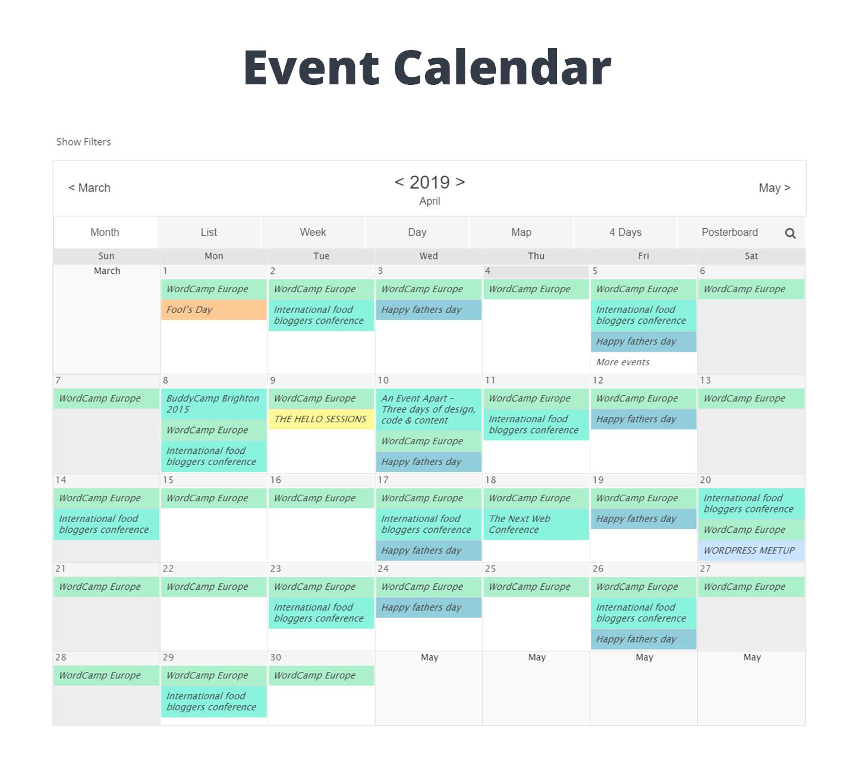 事件日历WD –响应事件日历插件