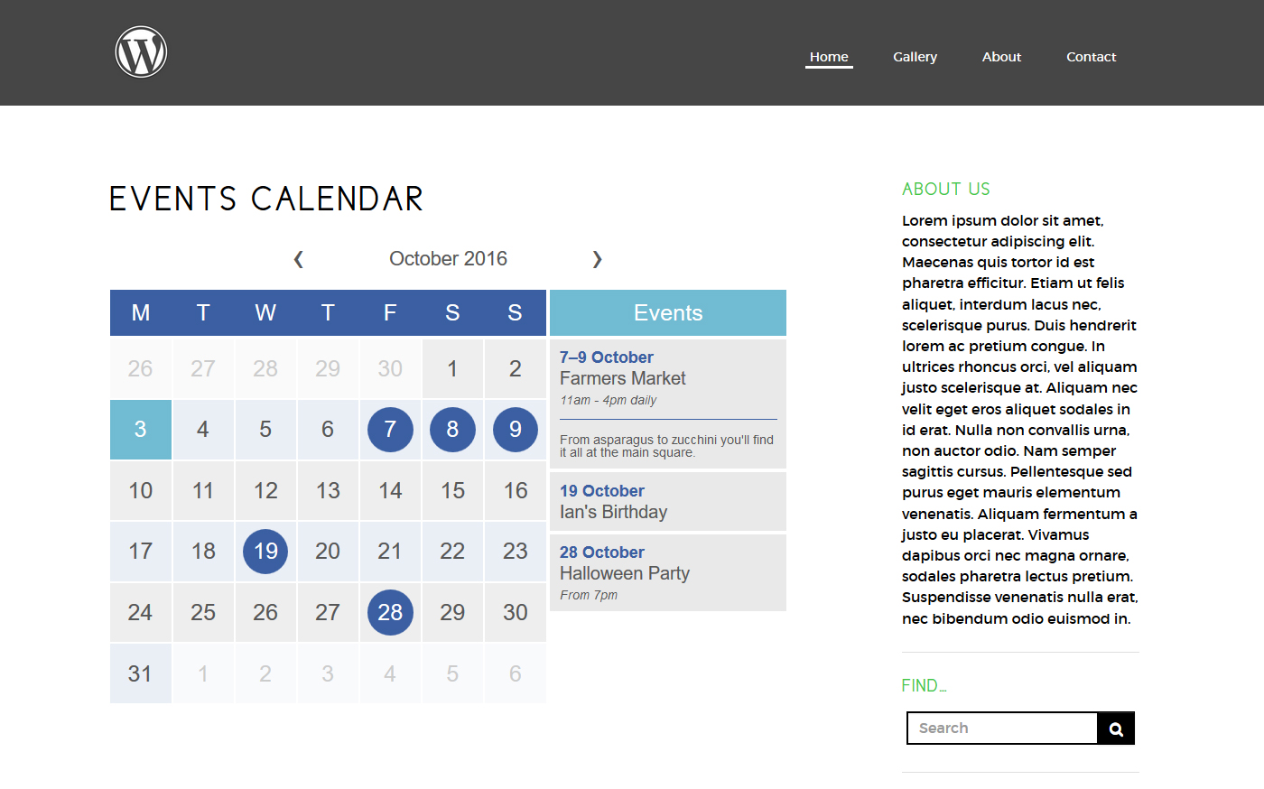 Full size calendar with event list on page/post view
