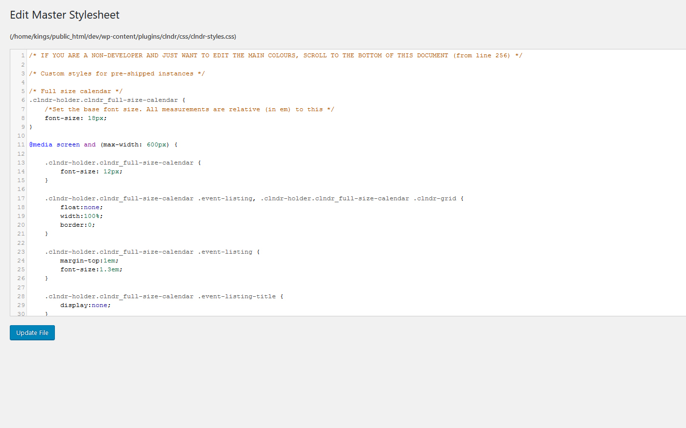 Stylesheet editor in admin view