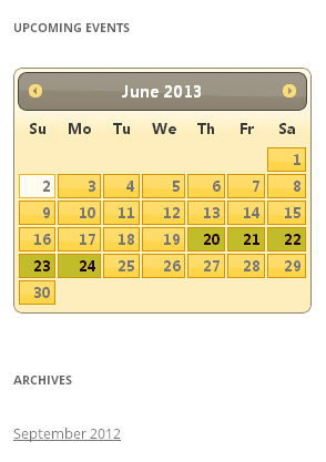 The calendar widget on the front end of the site