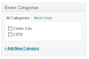 As of version 2.2, you can add categories just like you would with a normal WordPress post