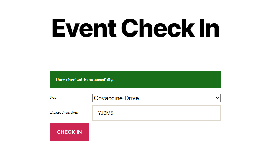 Event check-in page