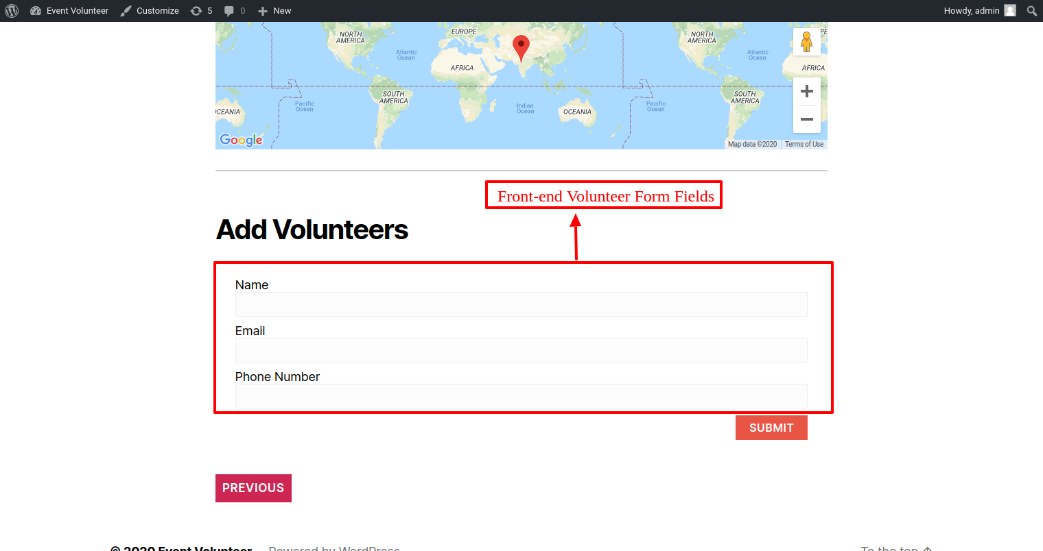 Display Volunteer Form in the front end