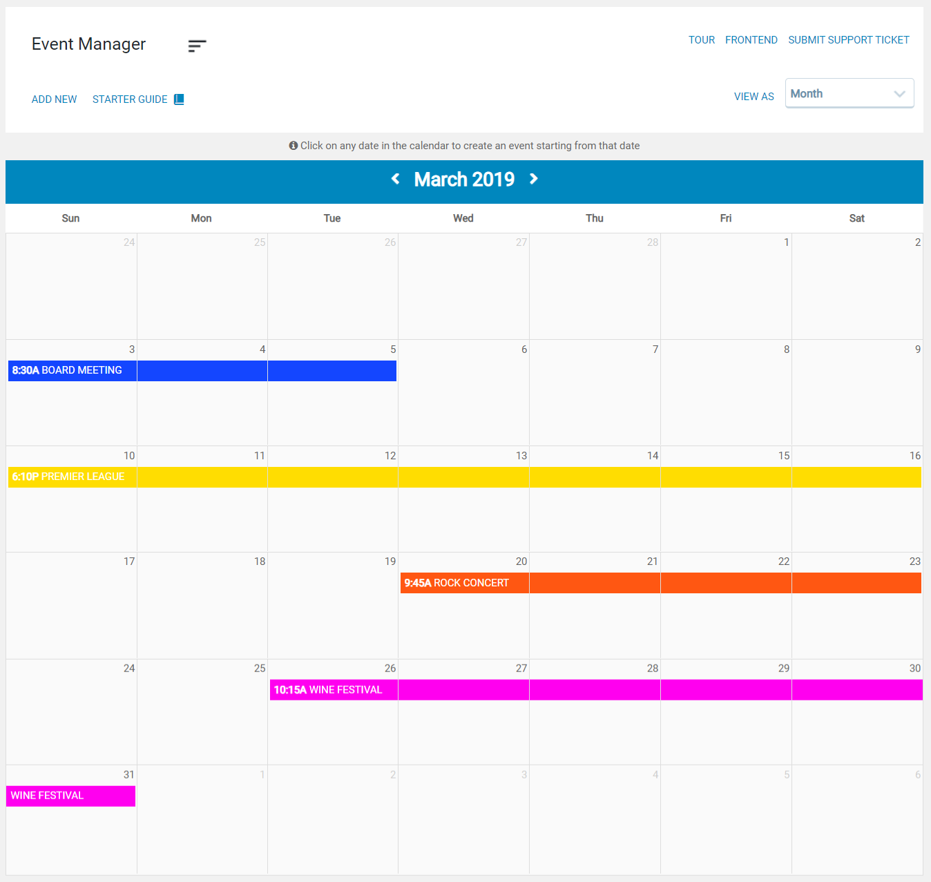 Event Manager Backend Page
